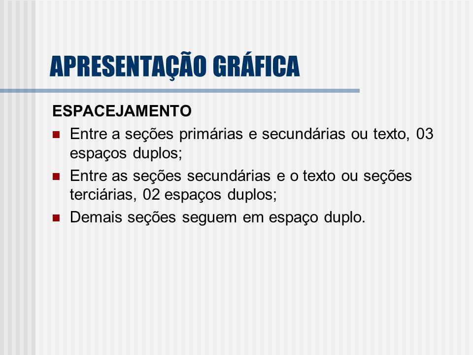 APRESENTAÇÃO GRÁFICA ESPACEJAMENTO