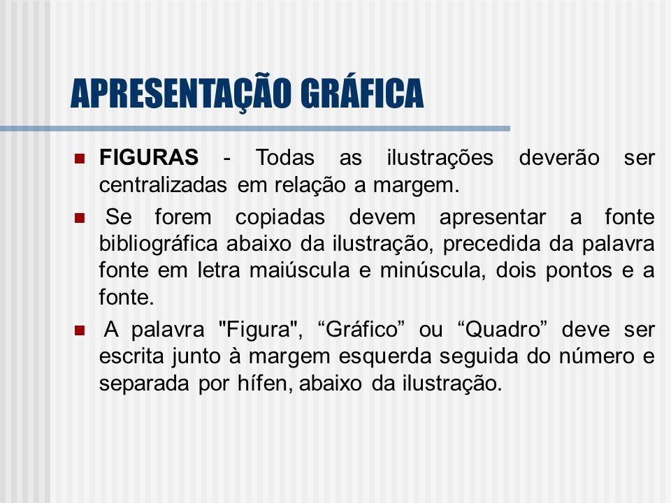 APRESENTAÇÃO GRÁFICA FIGURAS - Todas as ilustrações deverão ser centralizadas em relação a margem.