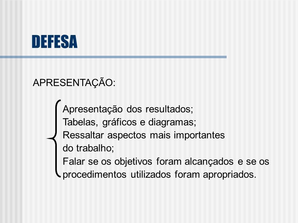 DEFESA APRESENTAÇÃO: Apresentação dos resultados;