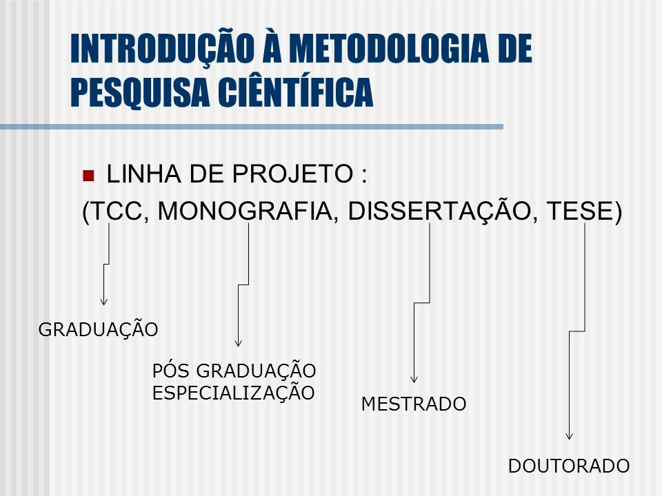 INTRODUÇÃO À METODOLOGIA DE PESQUISA CIÊNTÍFICA