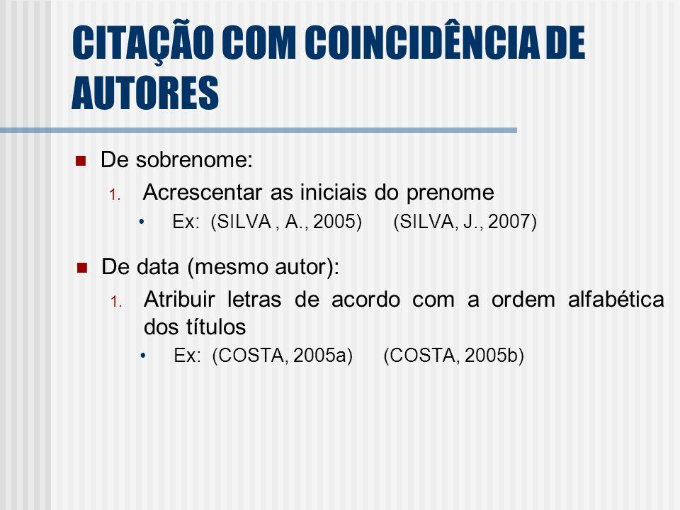 CITAÇÃO COM COINCIDÊNCIA DE AUTORES