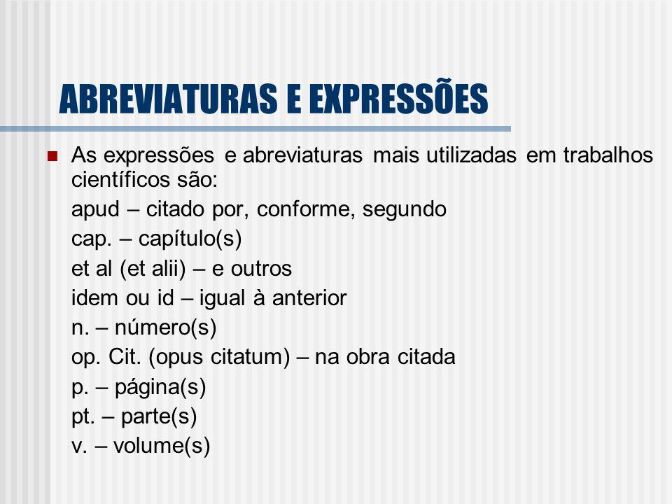 ABREVIATURAS E EXPRESSÕES