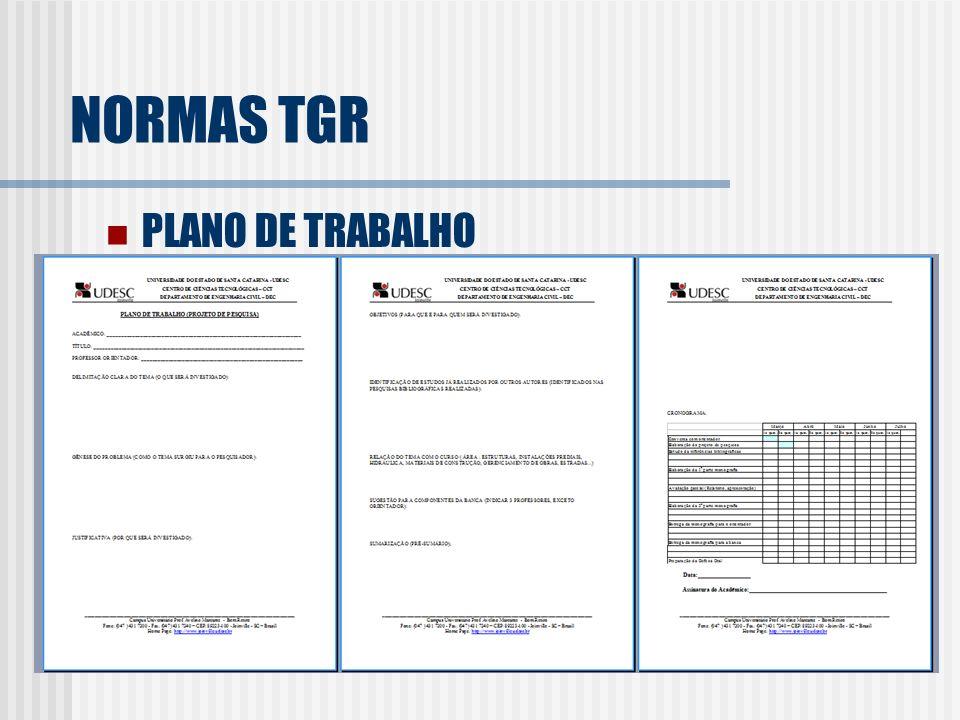 NORMAS TGR PLANO DE TRABALHO