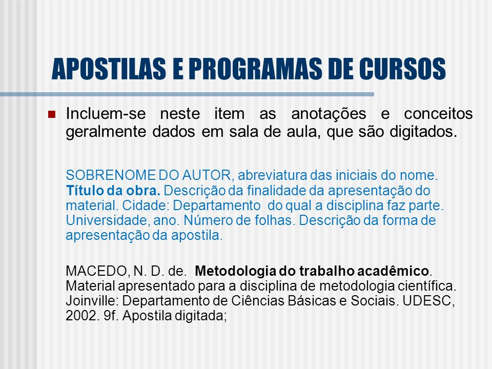 APOSTILAS E PROGRAMAS DE CURSOS