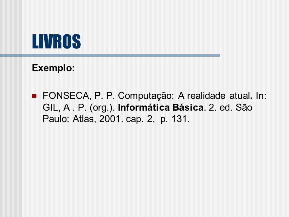LIVROS Exemplo: