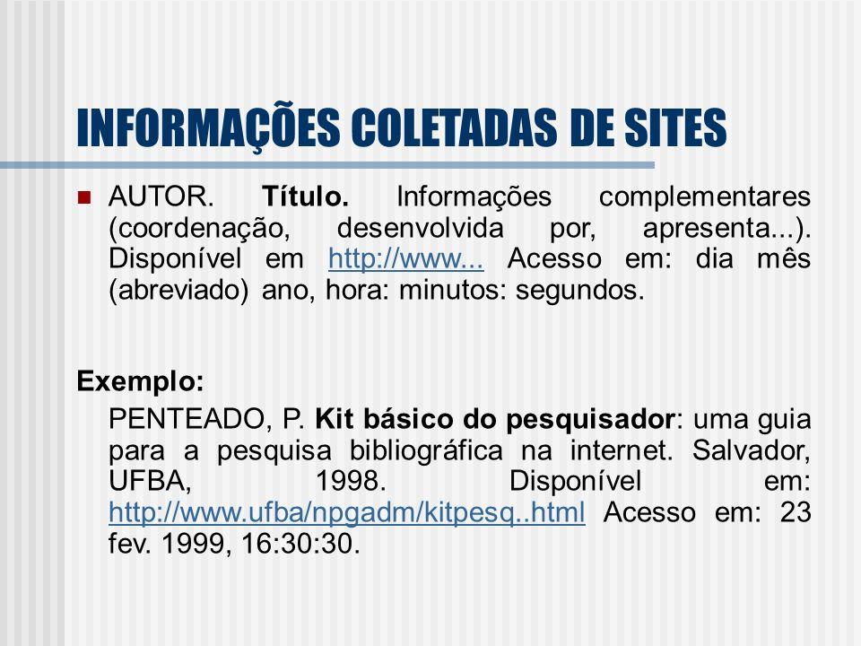 INFORMAÇÕES COLETADAS DE SITES