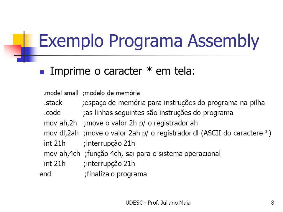 Exemplo Programa Assembly