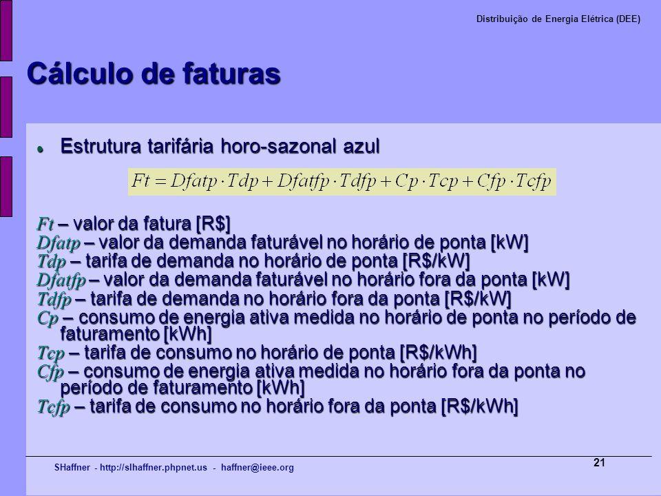 Cálculo de faturas Estrutura tarifária horo-sazonal azul