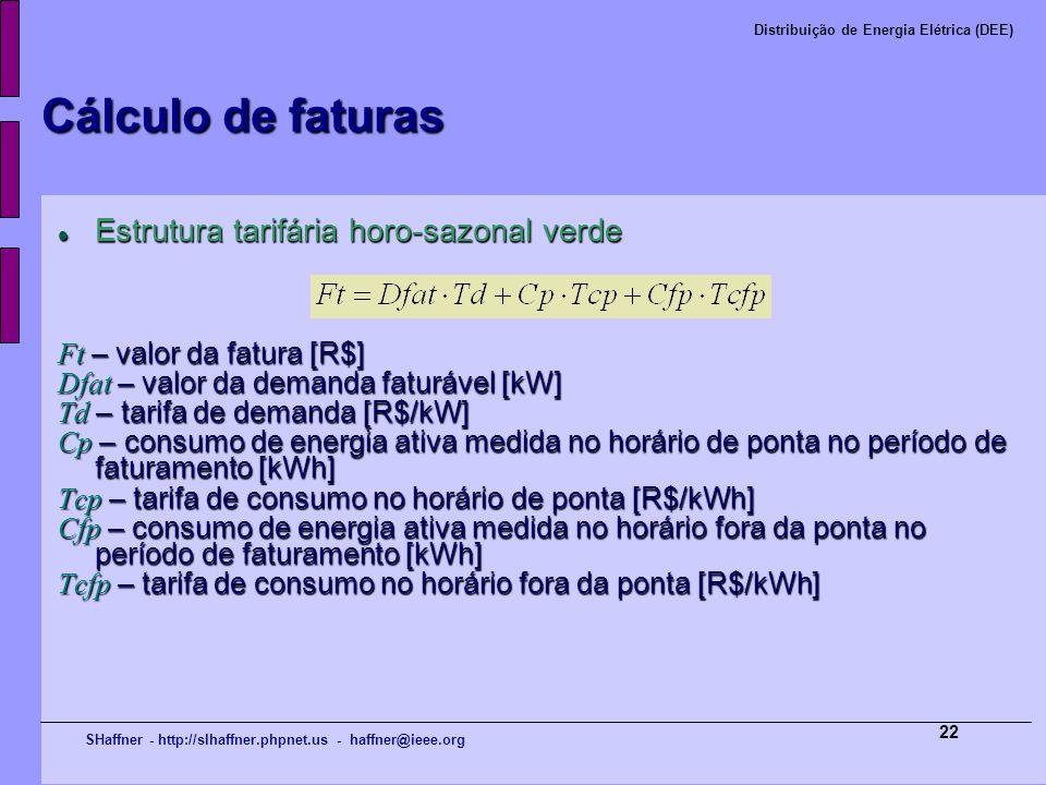 Cálculo de faturas Estrutura tarifária horo-sazonal verde