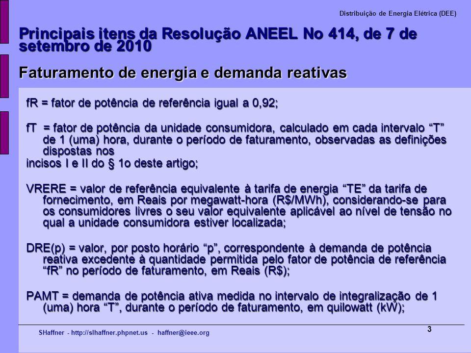 Principais itens da Resolução ANEEL No 414, de 7 de setembro de 2010 Faturamento de energia e demanda reativas