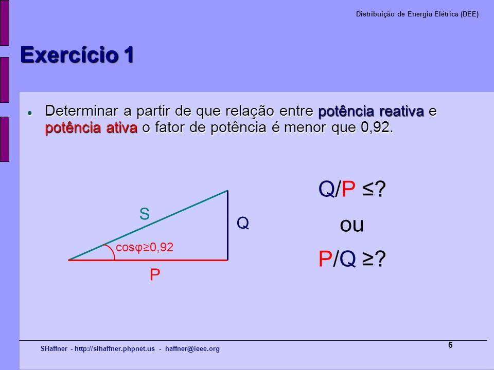Exercício 1 Q/P ≤ ou P/Q ≥ S Q P