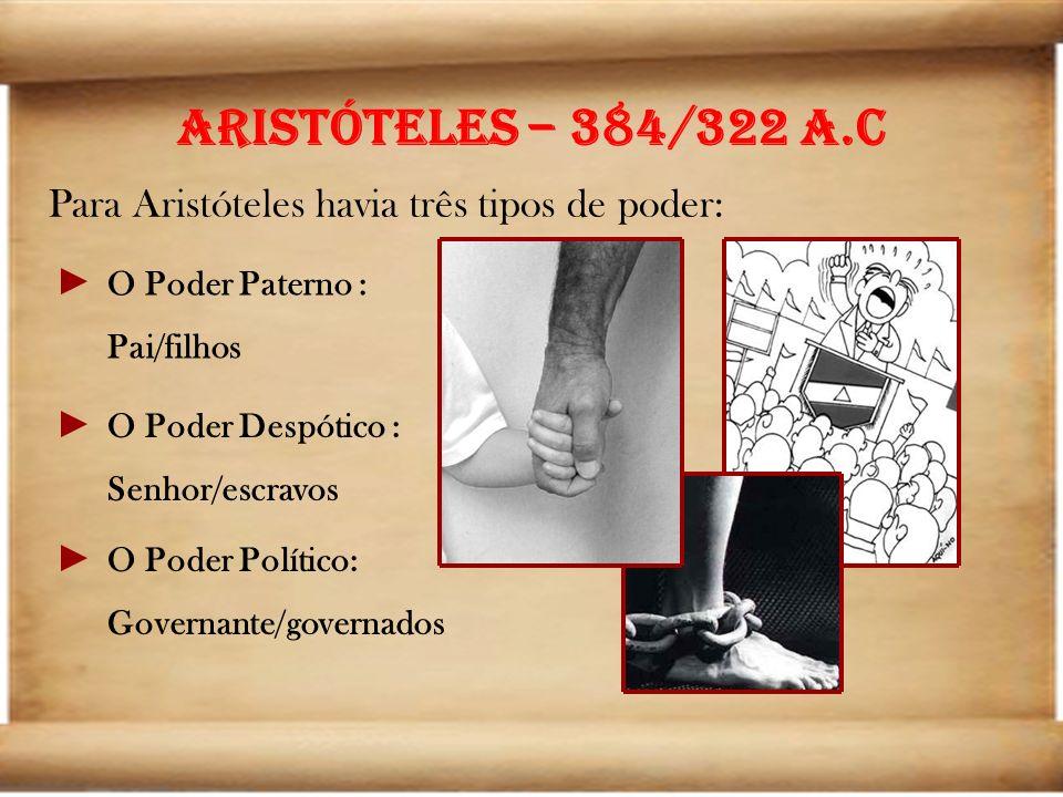 Aristóteles – 384/322 a.C Para Aristóteles havia três tipos de poder: