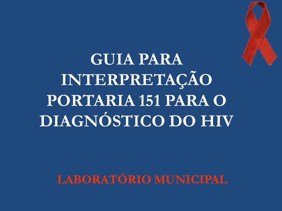 GUIA PARA INTERPRETAÇÃO PORTARIA 151 PARA O DIAGNÓSTICO DO HIV