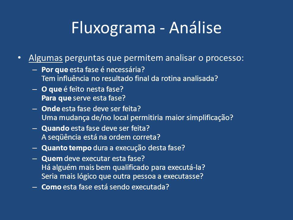 Fluxograma - Análise Algumas perguntas que permitem analisar o processo: