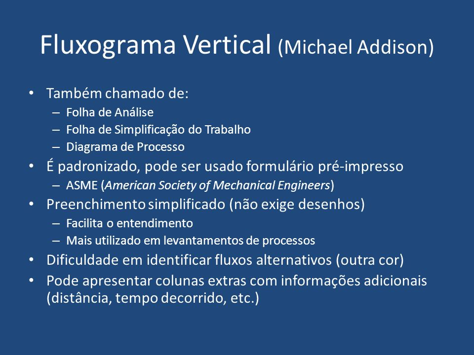 Fluxograma Vertical (Michael Addison)