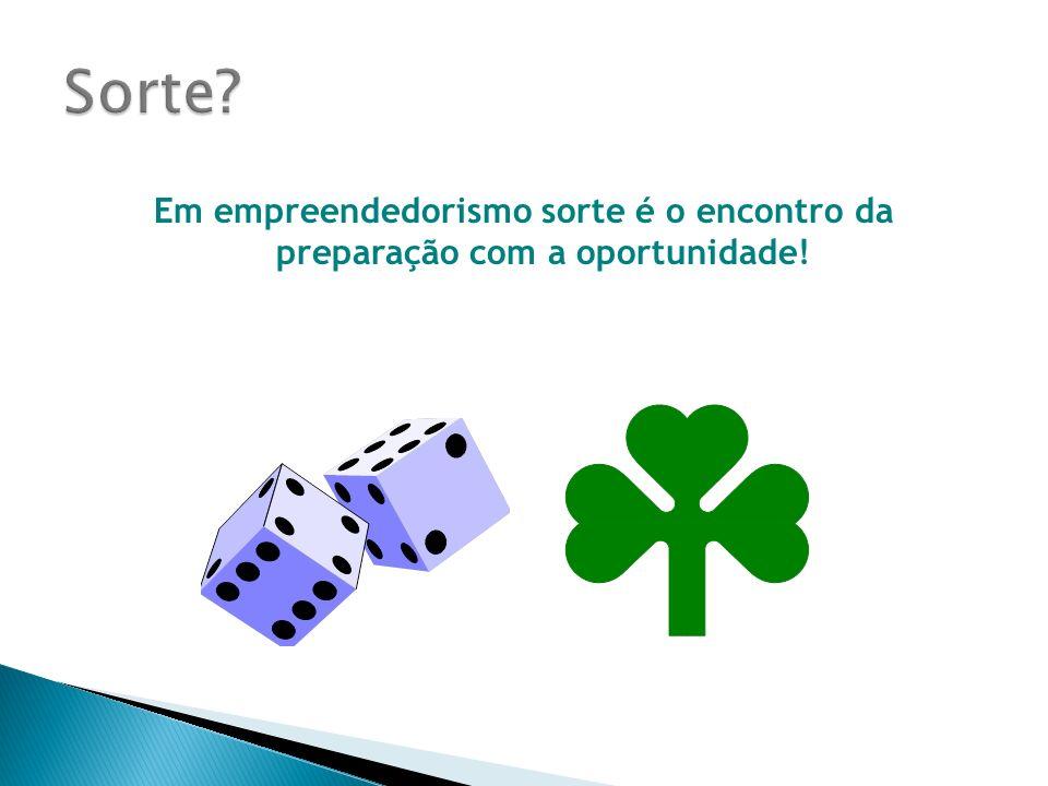 Sorte Em empreendedorismo sorte é o encontro da preparação com a oportunidade!