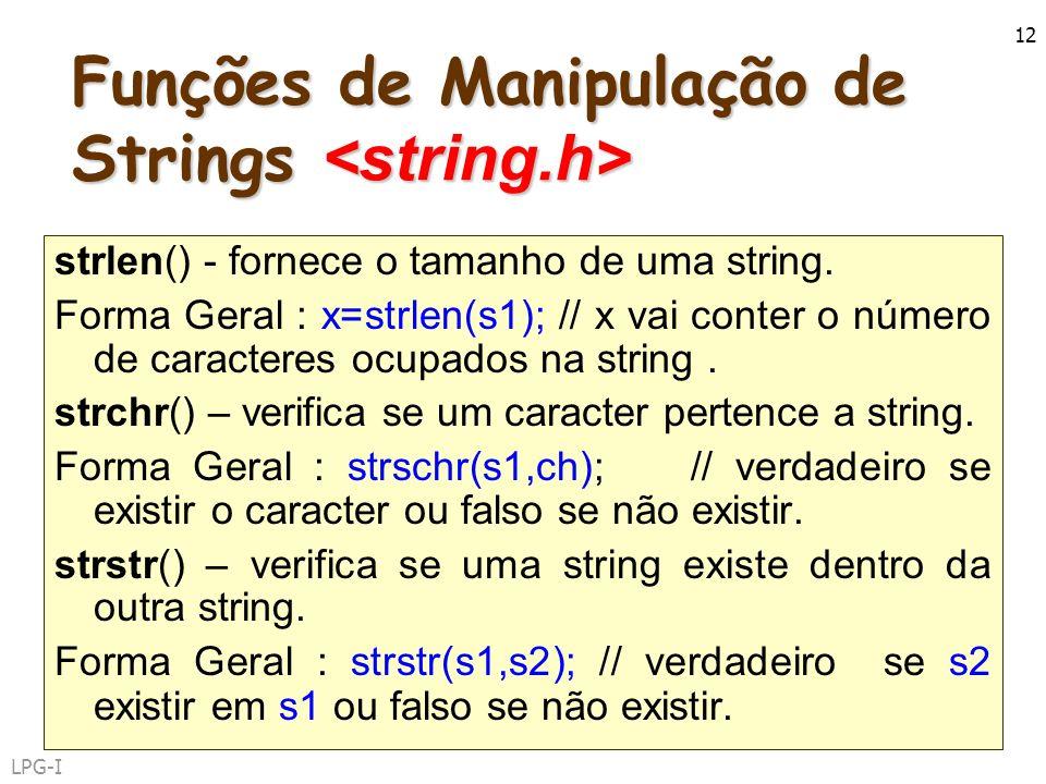 Funções de Manipulação de Strings <string.h>