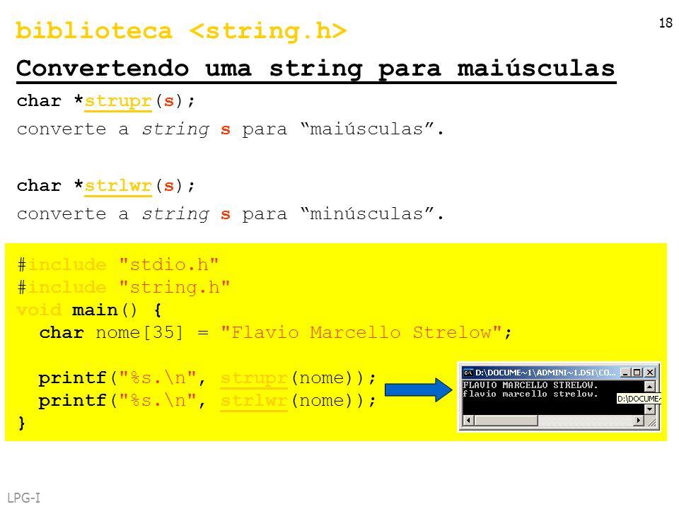 biblioteca <string.h> Convertendo uma string para maiúsculas