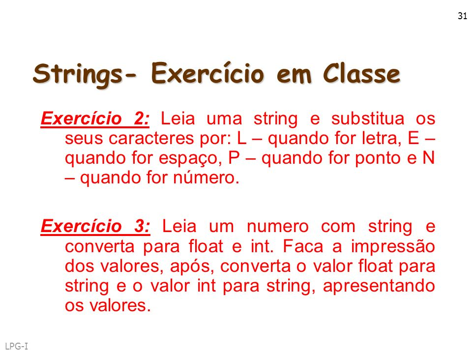 Strings- Exercício em Classe