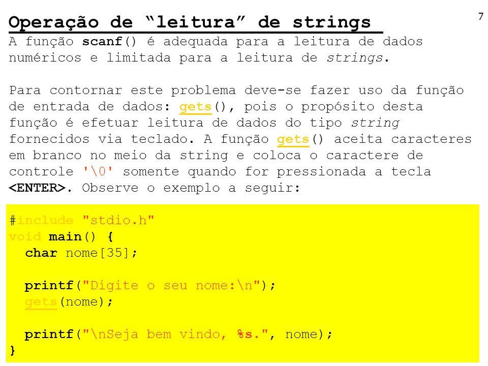 Operação de leitura de strings