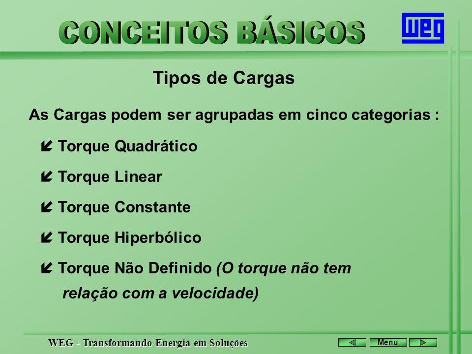 Tipos de Cargas As Cargas podem ser agrupadas em cinco categorias :