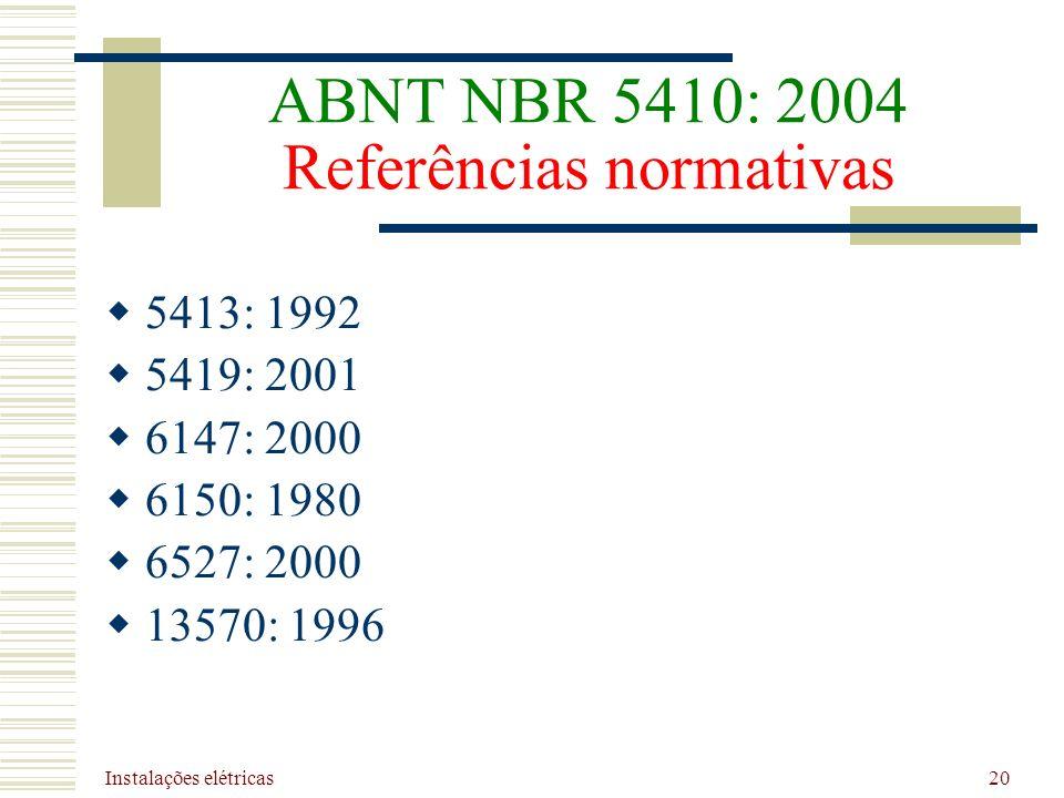 ABNT NBR 5410: 2004 Referências normativas