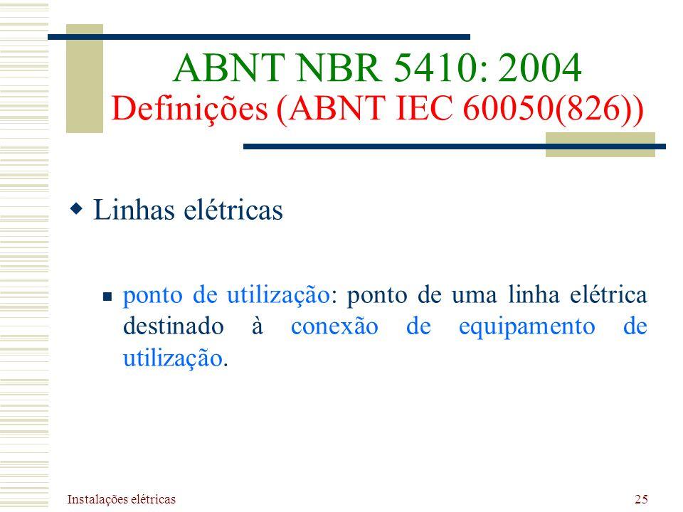 ABNT NBR 5410: 2004 Definições (ABNT IEC 60050(826))