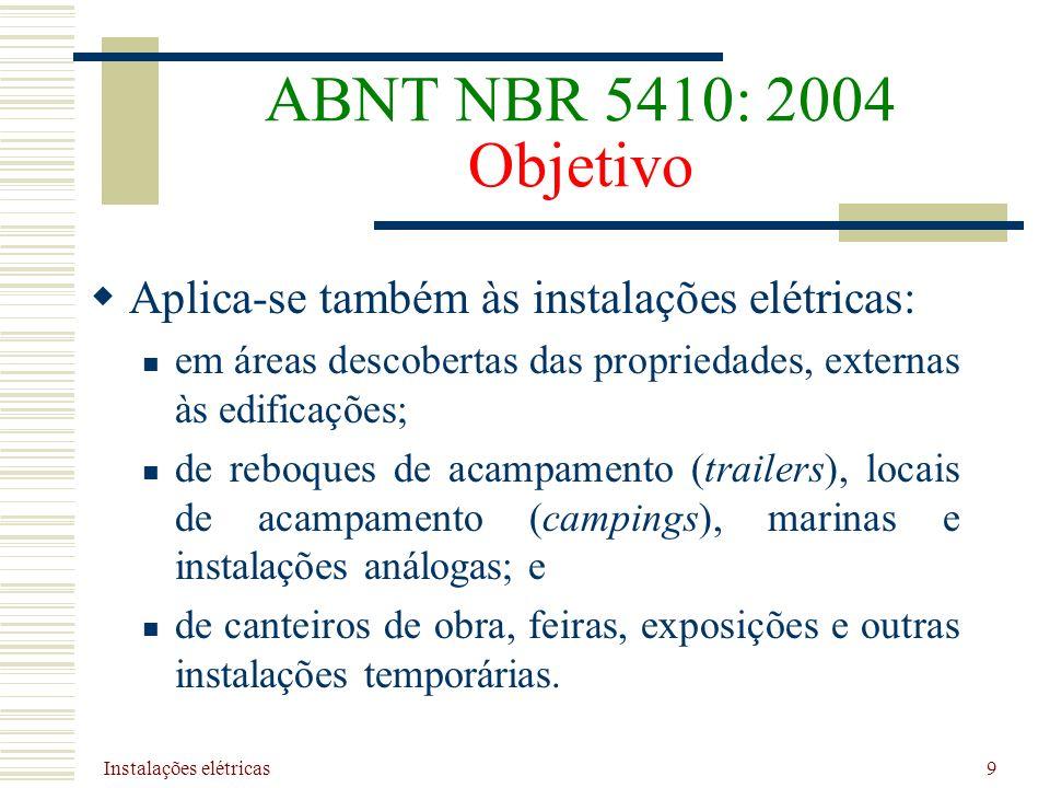 ABNT NBR 5410: 2004 Objetivo Aplica-se também às instalações elétricas: em áreas descobertas das propriedades, externas às edificações;