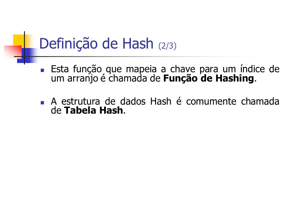 Definição de Hash (2/3)Esta função que mapeia a chave para um índice de um arranjo é chamada de Função de Hashing.