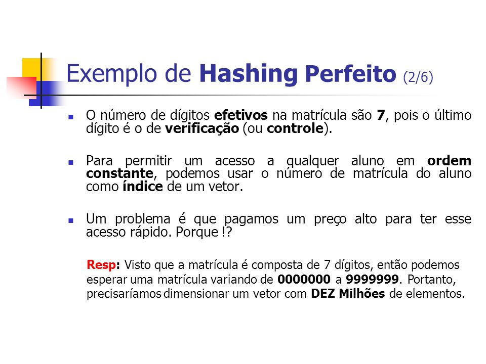 Exemplo de Hashing Perfeito (2/6)