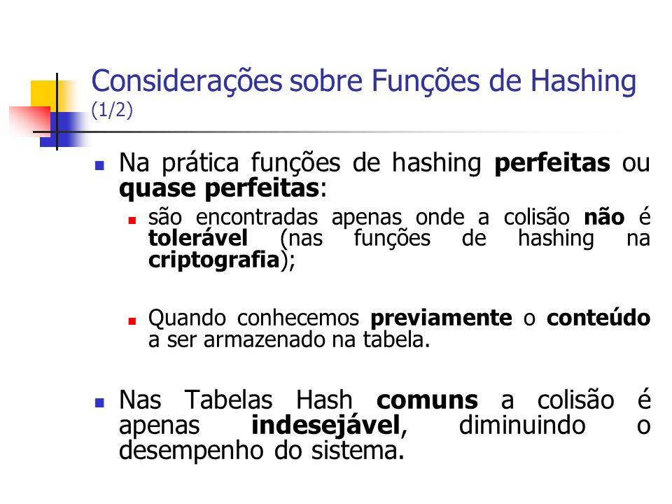 Considerações sobre Funções de Hashing (1/2)