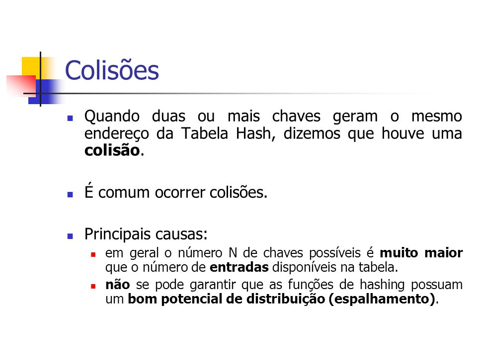 ColisõesQuando duas ou mais chaves geram o mesmo endereço da Tabela Hash, dizemos que houve uma colisão.