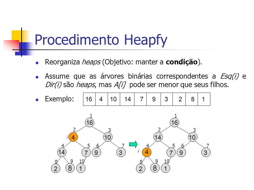 Procedimento Heapfy Reorganiza heaps (Objetivo: manter a condição).