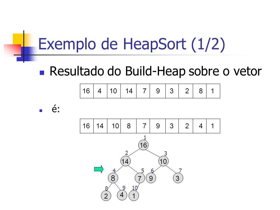 Exemplo de HeapSort (1/2)