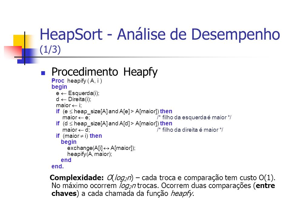 HeapSort - Análise de Desempenho (1/3)