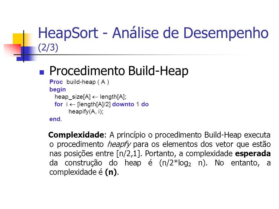 HeapSort - Análise de Desempenho (2/3)