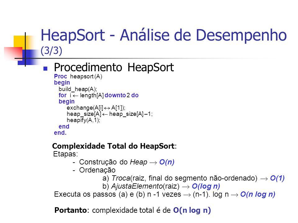 HeapSort - Análise de Desempenho (3/3)