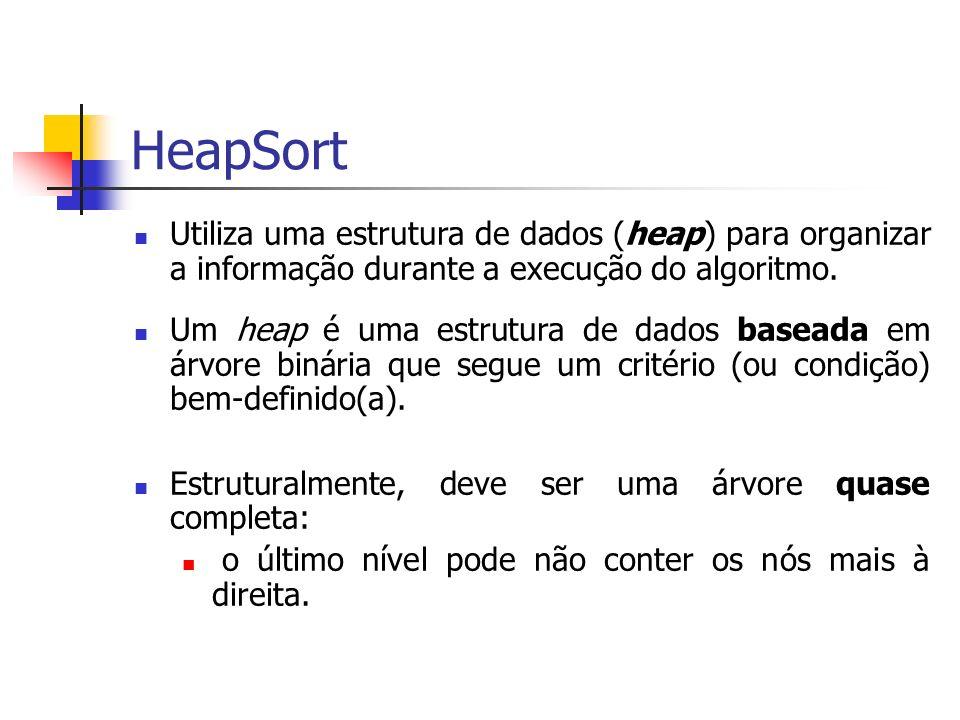 HeapSort Utiliza uma estrutura de dados (heap) para organizar a informação durante a execução do algoritmo.