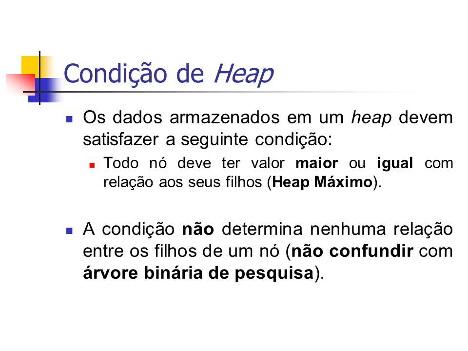 Condição de Heap Os dados armazenados em um heap devem satisfazer a seguinte condição: