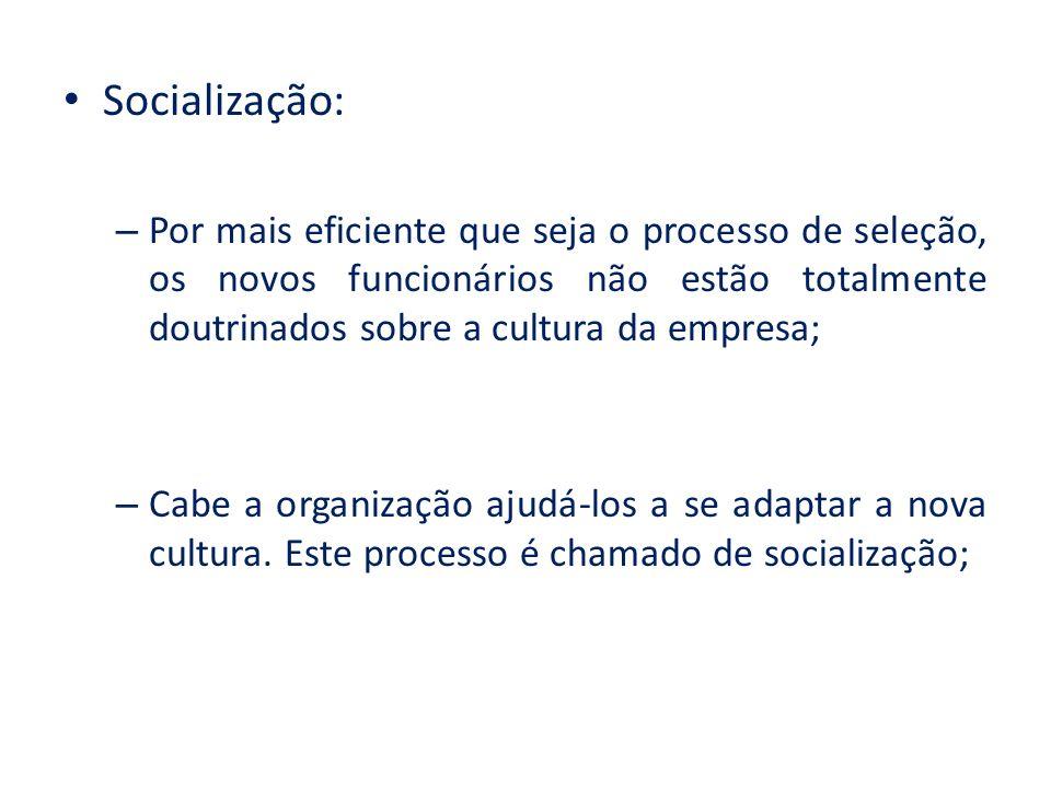Socialização: Por mais eficiente que seja o processo de seleção, os novos funcionários não estão totalmente doutrinados sobre a cultura da empresa;