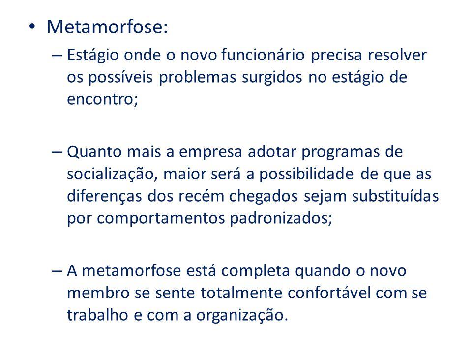 Metamorfose: Estágio onde o novo funcionário precisa resolver os possíveis problemas surgidos no estágio de encontro;