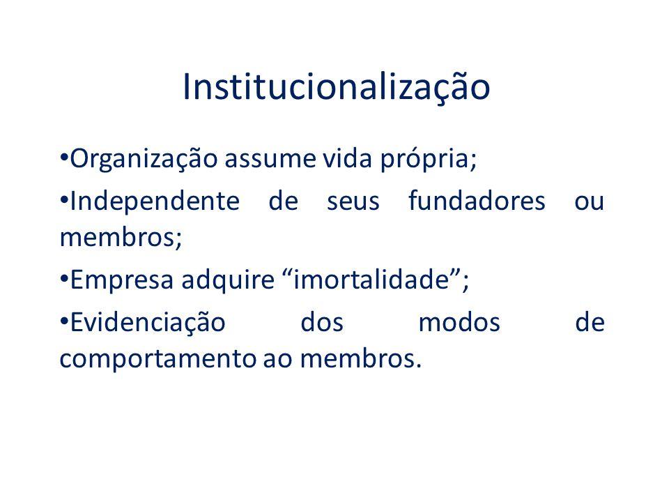 Institucionalização Organização assume vida própria;