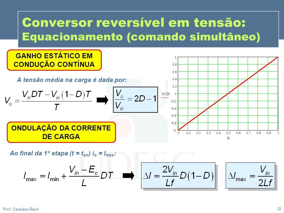 Conversor reversível em tensão: Equacionamento (comando simultâneo)