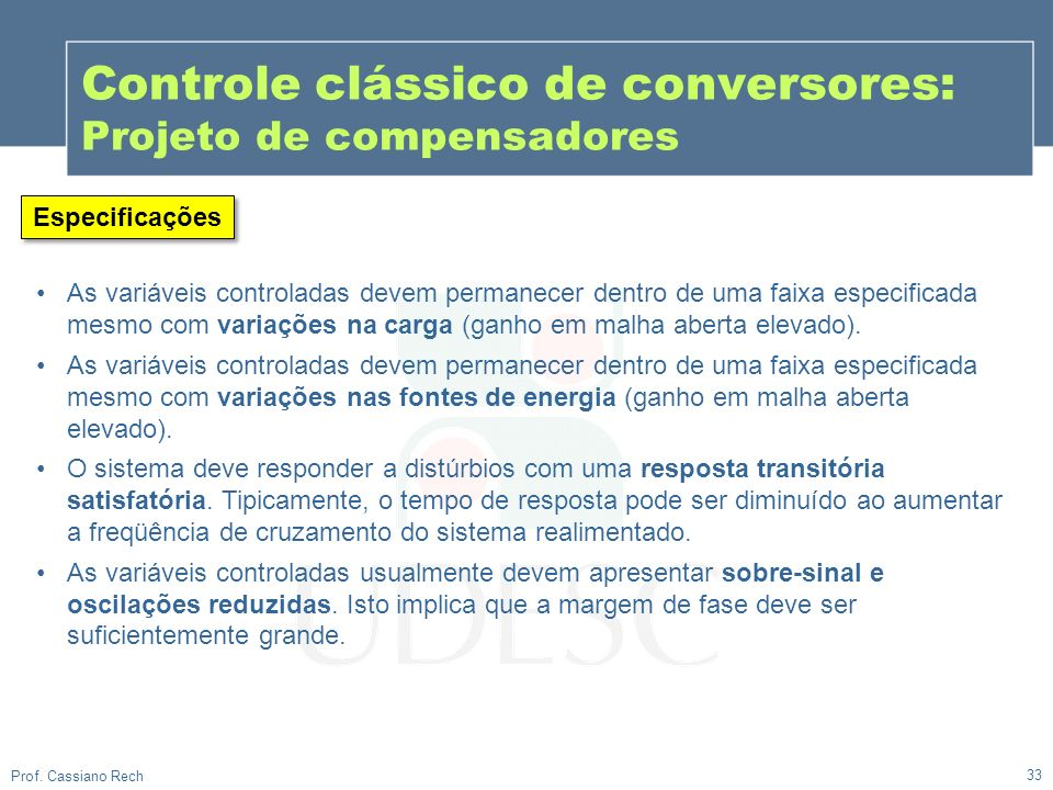 Controle clássico de conversores: Projeto de compensadores
