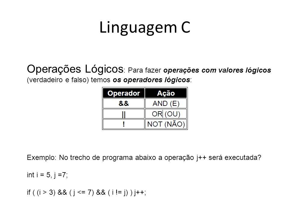 Linguagem C Operações Lógicos: Para fazer operações com valores lógicos (verdadeiro e falso) temos os operadores lógicos: