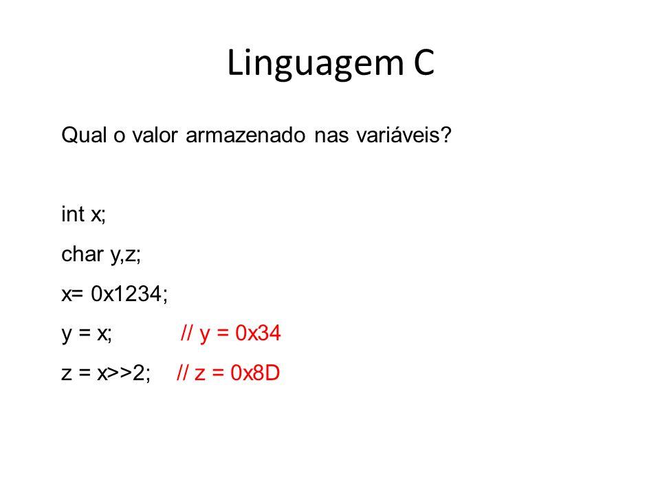 Linguagem C Qual o valor armazenado nas variáveis int x; char y,z;