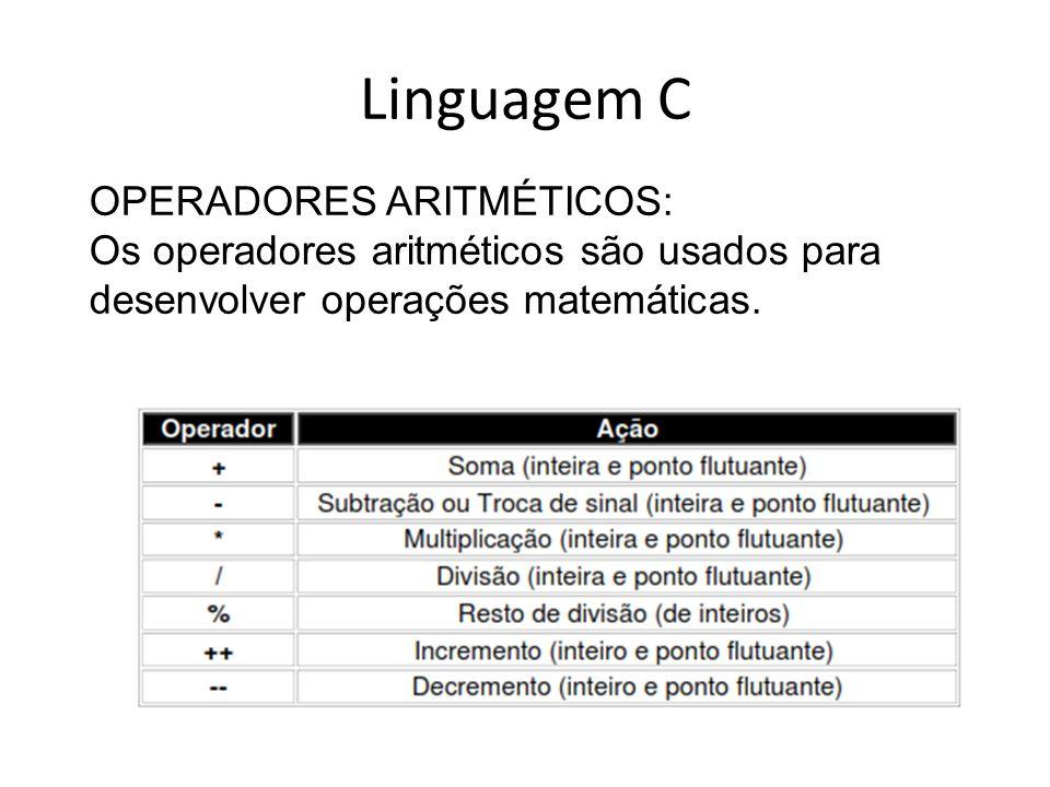 Linguagem C OPERADORES ARITMÉTICOS: