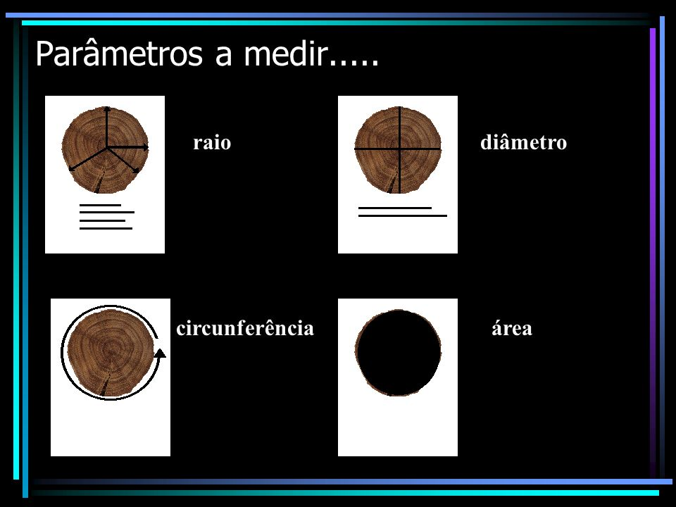 Parâmetros a medir..... raio diâmetro circunferência área