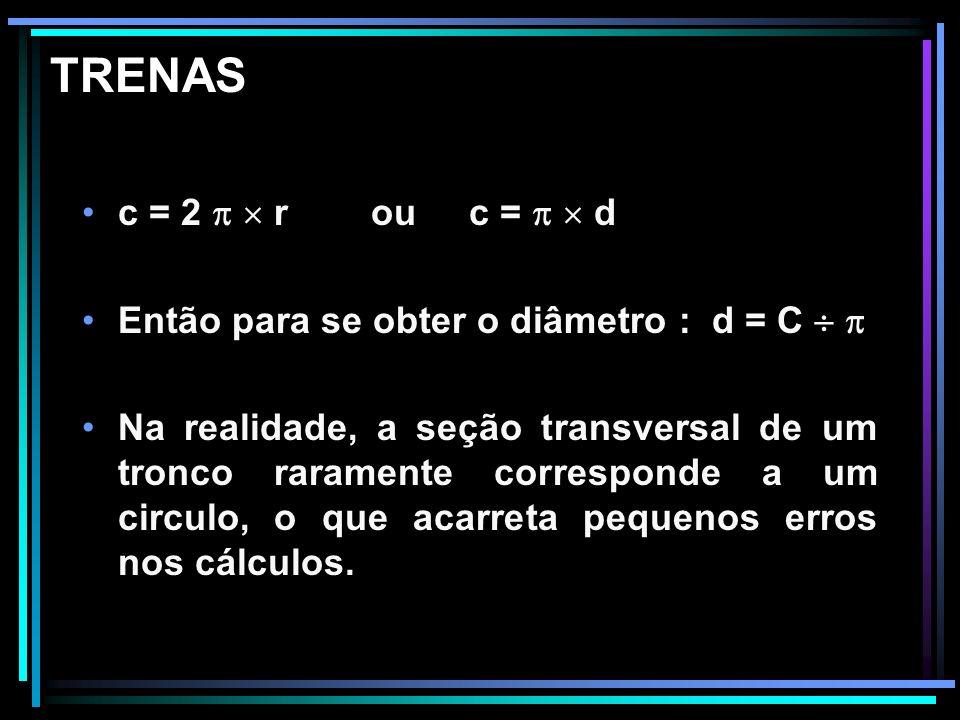 TRENAS c = 2   r ou c =   d. Então para se obter o diâmetro : d = C  