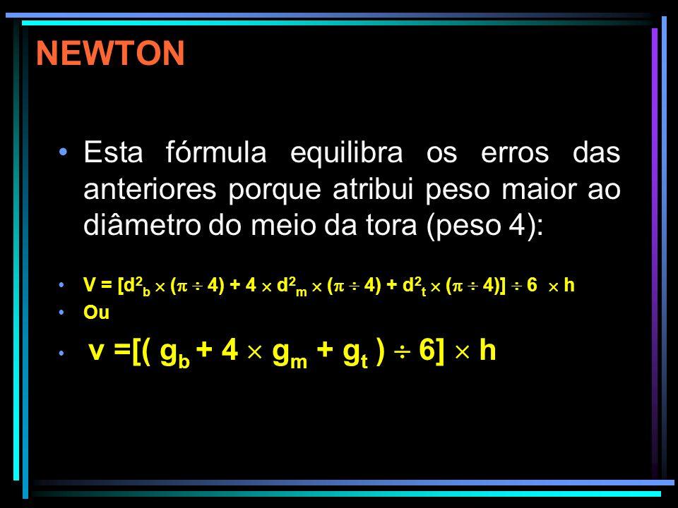 NEWTON Esta fórmula equilibra os erros das anteriores porque atribui peso maior ao diâmetro do meio da tora (peso 4):